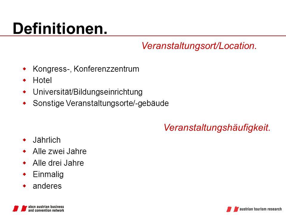 Definitionen. Veranstaltungsort/Location. Veranstaltungshäufigkeit.