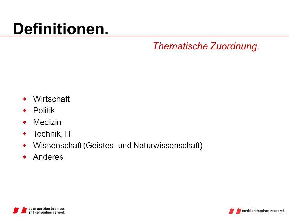 Definitionen. Thematische Zuordnung. Wirtschaft Politik Medizin