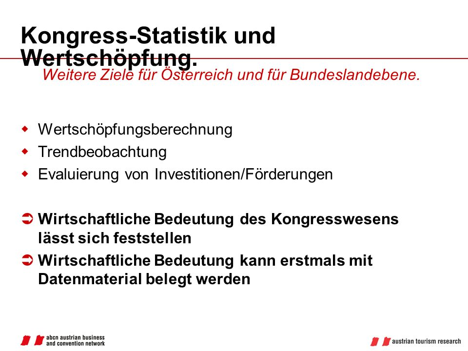 Kongress-Statistik und Wertschöpfung.