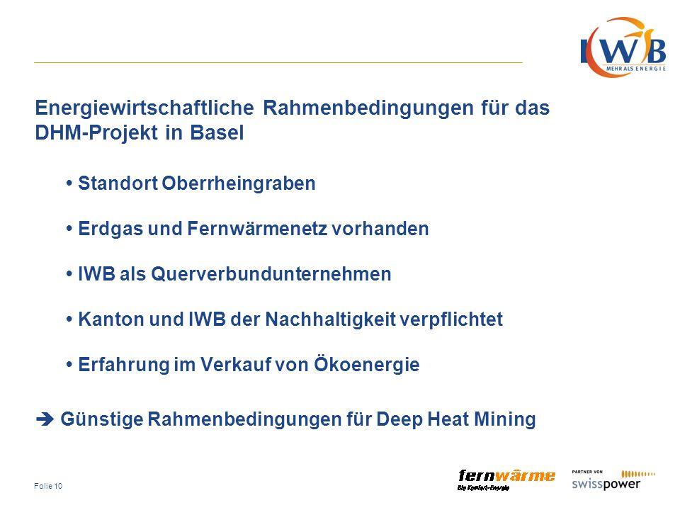 Energiewirtschaftliche Rahmenbedingungen für das DHM-Projekt in Basel
