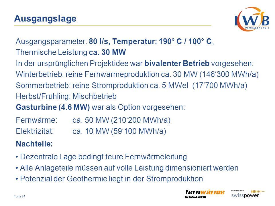 Ausgangslage Ausgangsparameter: 80 l/s, Temperatur: 190° C / 100° C,