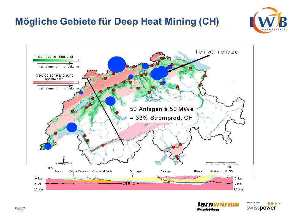 Mögliche Gebiete für Deep Heat Mining (CH)