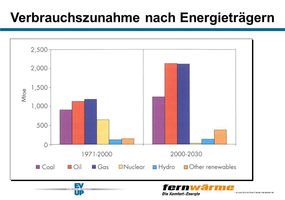 Verbrauchszunahme nach Energieträgern