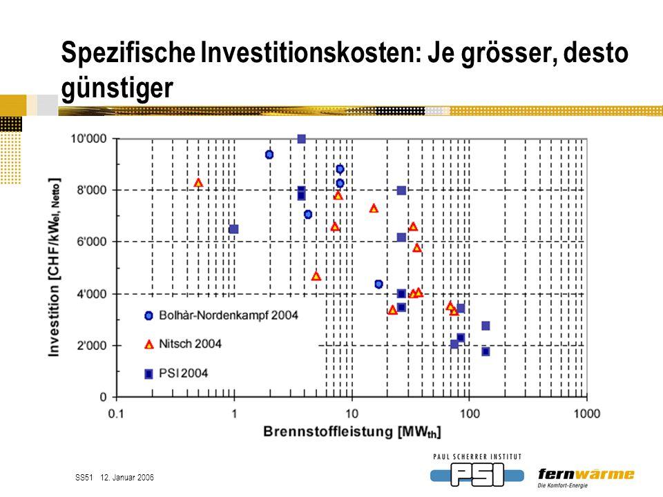 Spezifische Investitionskosten: Je grösser, desto günstiger