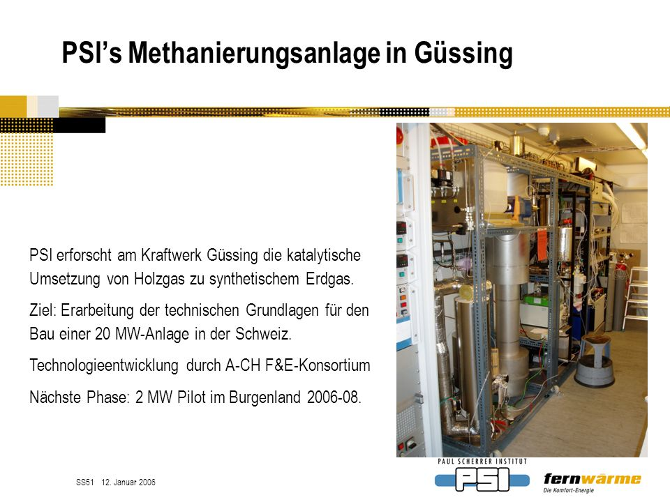 PSI's Methanierungsanlage in Güssing
