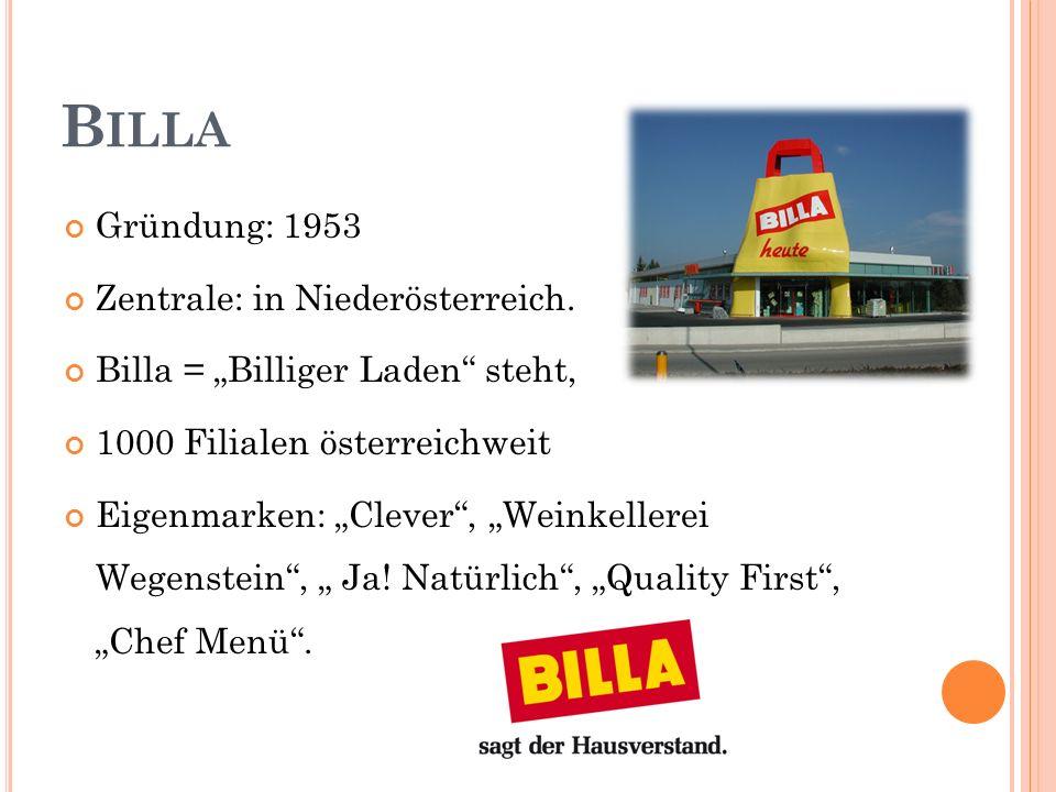 Billa Gründung: 1953 Zentrale: in Niederösterreich.