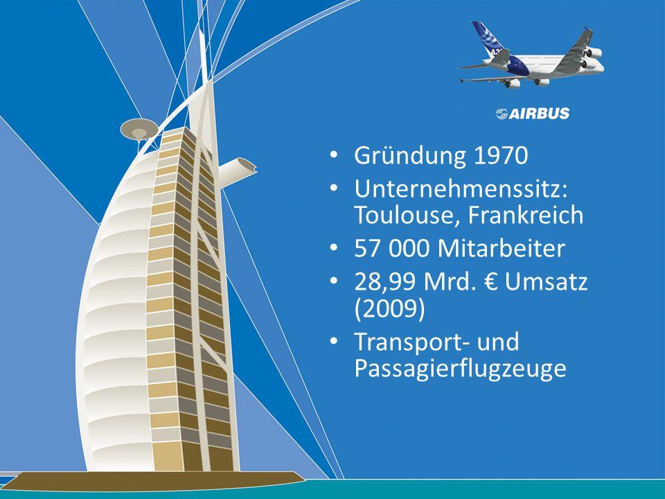Gründung 1970 Unternehmenssitz: Toulouse, Frankreich. 57 000 Mitarbeiter. 28,99 Mrd. € Umsatz (2009)