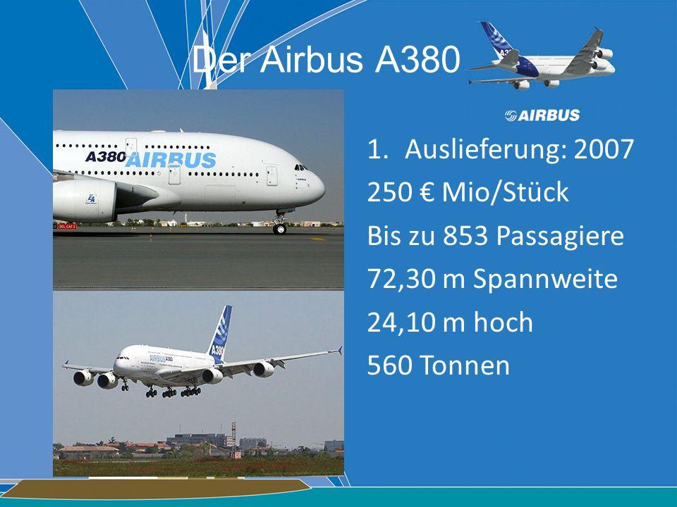 Der Airbus A380 Auslieferung: 2007 250 € Mio/Stück