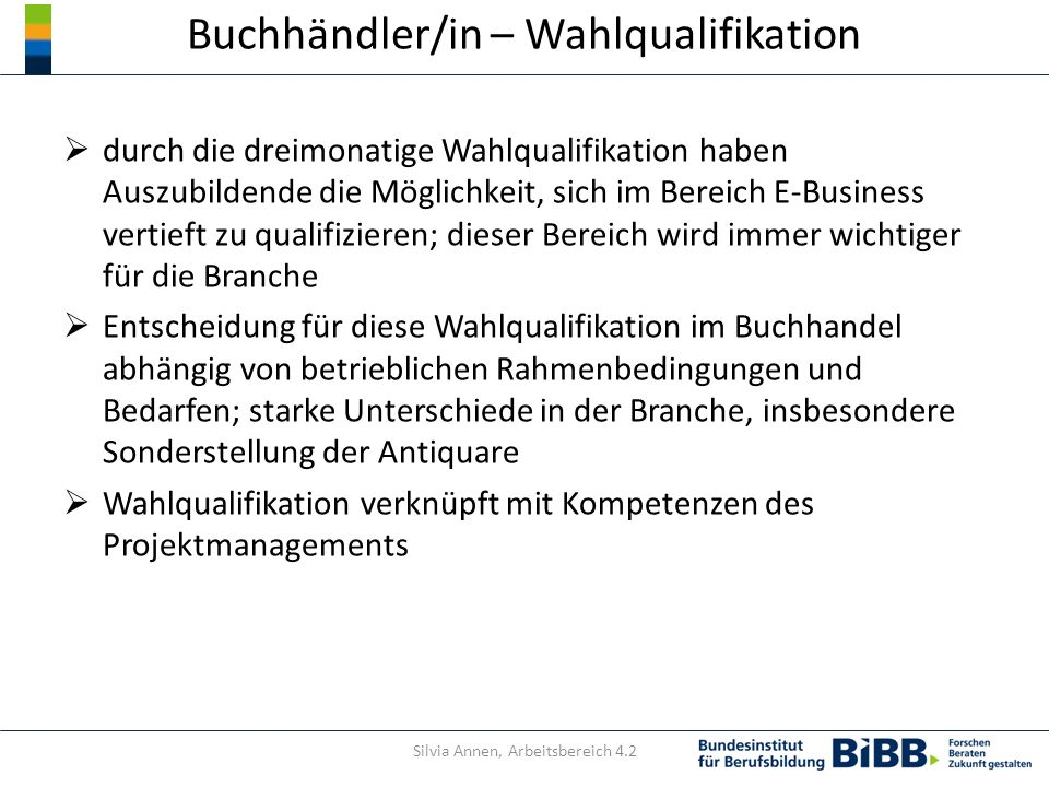 Buchhändler/in – Wahlqualifikation