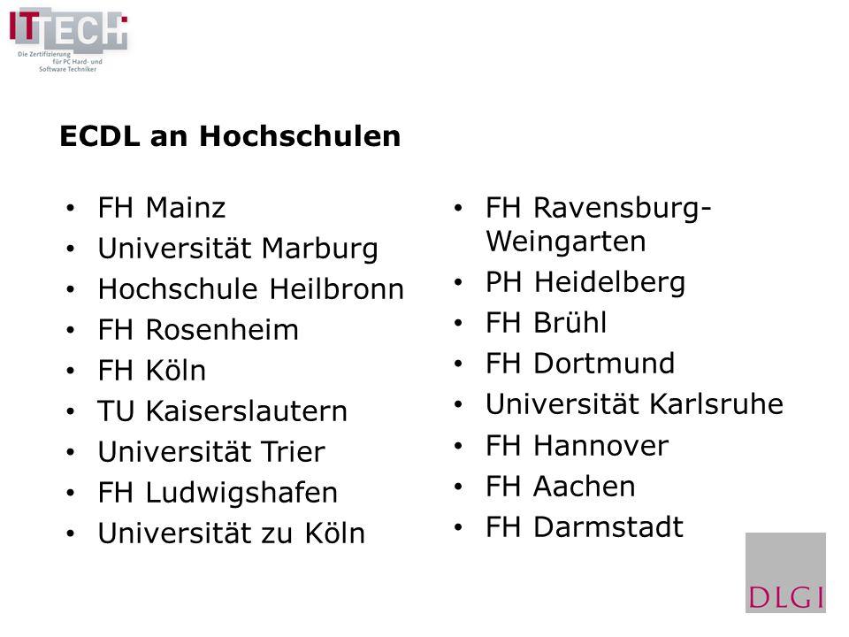 ECDL an Hochschulen FH Mainz. Universität Marburg. Hochschule Heilbronn. FH Rosenheim. FH Köln.