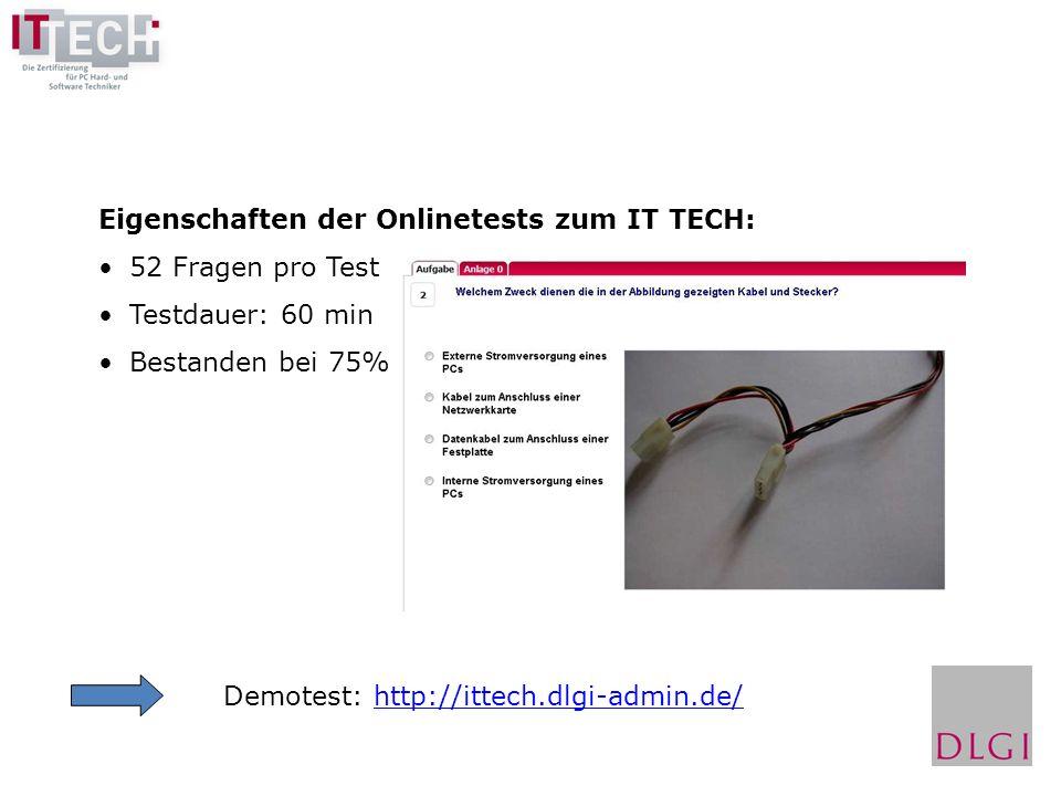 Eigenschaften der Onlinetests zum IT TECH:
