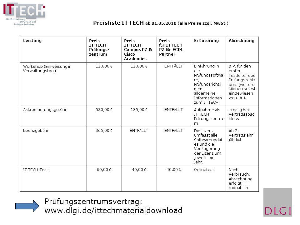 Prüfungszentrumsvertrag: www.dlgi.de/ittechmaterialdownload