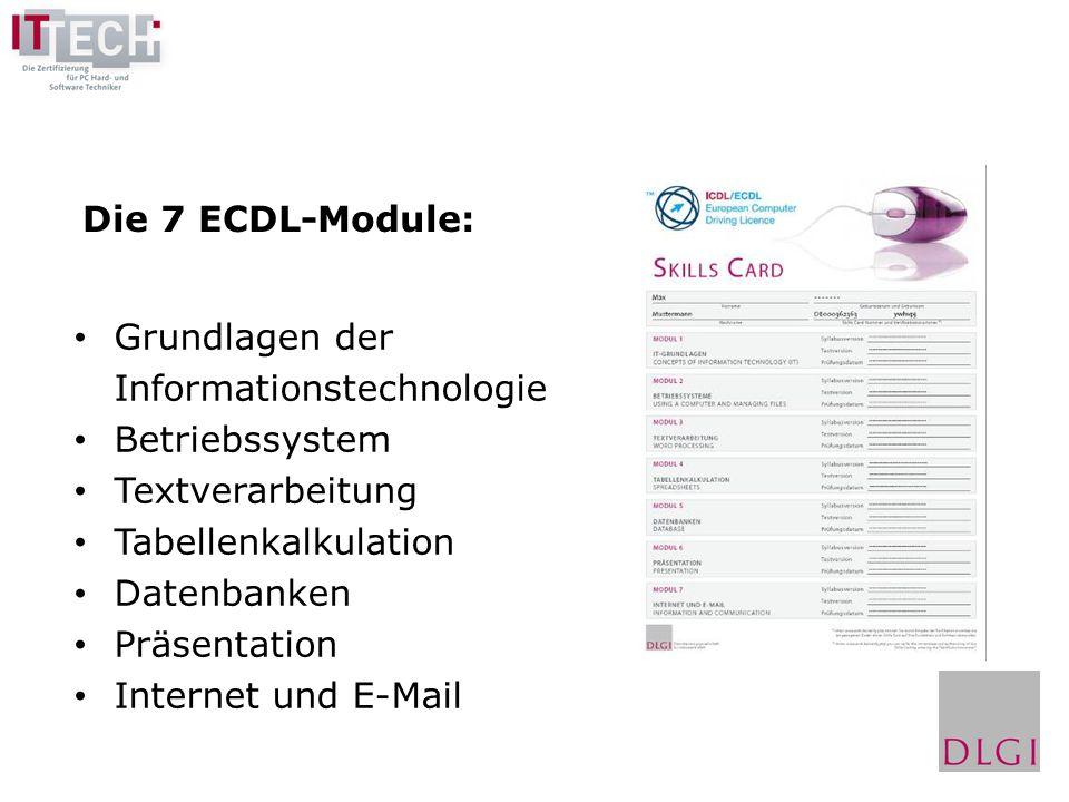 Die 7 ECDL-Module: Grundlagen der. Informationstechnologie. Betriebssystem. Textverarbeitung. Tabellenkalkulation.