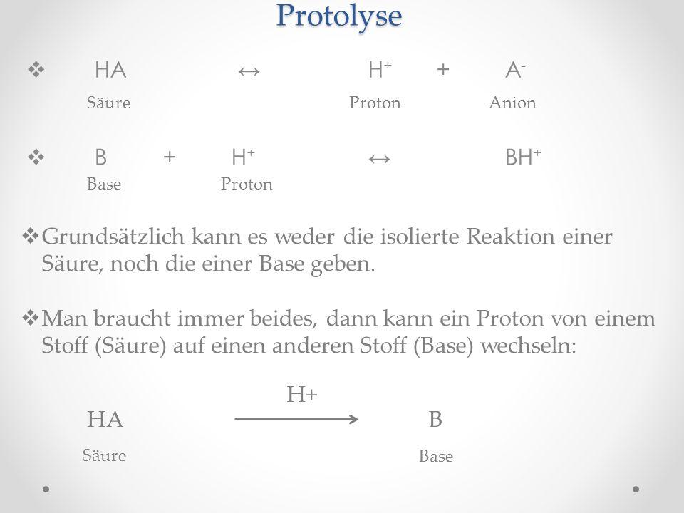 Protolyse HA ↔ H+ + A- B + H+ ↔ BH+