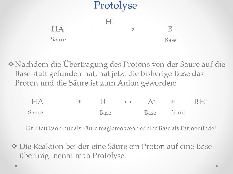 Protolyse H+ HA B. Säure. Base.