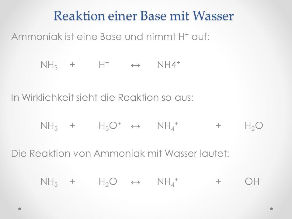 Reaktion einer Base mit Wasser