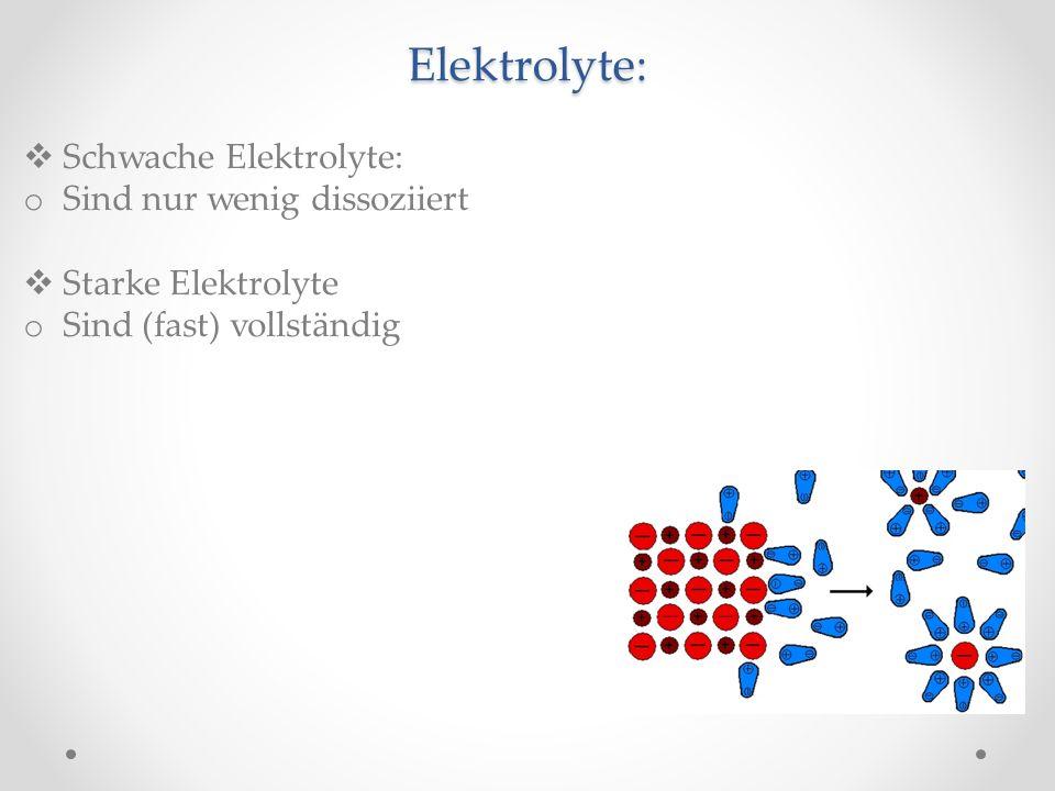 Elektrolyte: Schwache Elektrolyte: Sind nur wenig dissoziiert