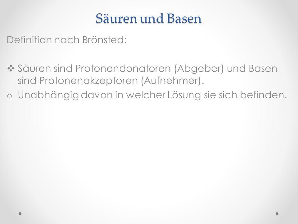 Säuren und Basen Definition nach Brönsted: