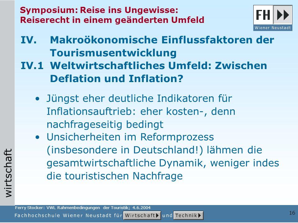 IV. Makroökonomische Einflussfaktoren der Tourismusentwicklung