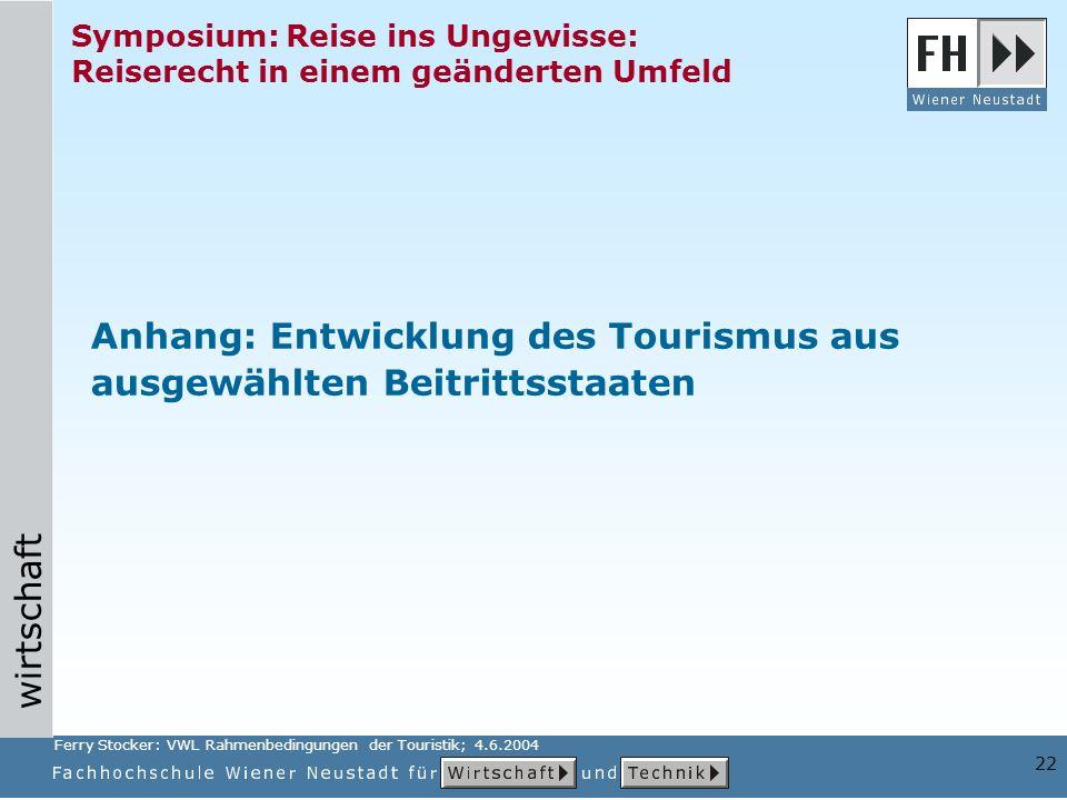 Anhang: Entwicklung des Tourismus aus ausgewählten Beitrittsstaaten