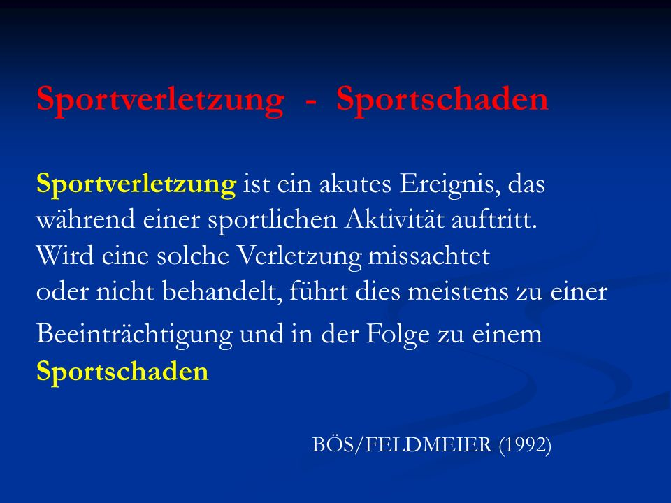 Sportverletzung - Sportschaden
