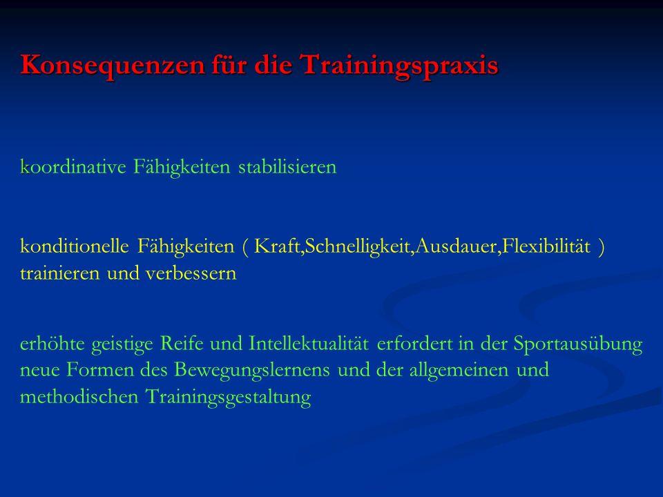Konsequenzen für die Trainingspraxis koordinative Fähigkeiten stabilisieren konditionelle Fähigkeiten ( Kraft,Schnelligkeit,Ausdauer,Flexibilität ) trainieren und verbessern erhöhte geistige Reife und Intellektualität erfordert in der Sportausübung neue Formen des Bewegungslernens und der allgemeinen und methodischen Trainingsgestaltung