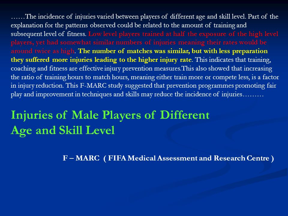 Injuries of Male Players of Different Age and Skill Level