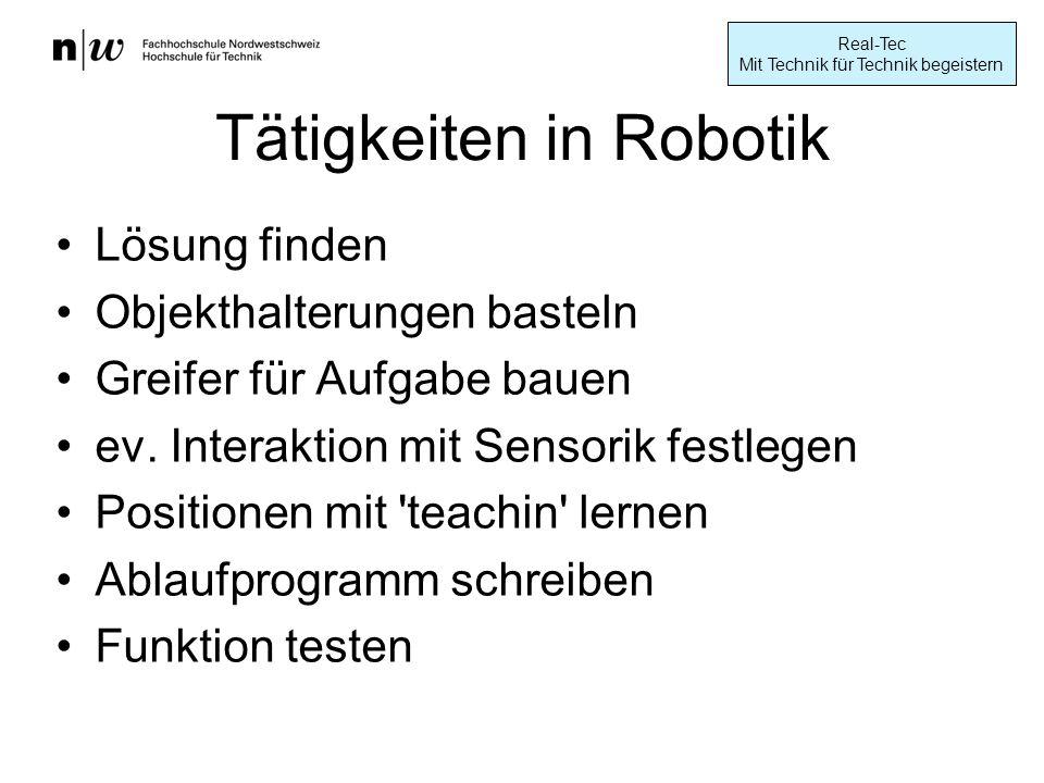 Tätigkeiten in Robotik