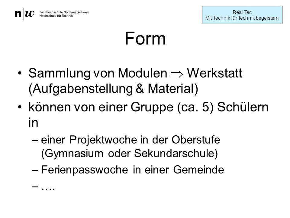 Form Sammlung von Modulen  Werkstatt (Aufgabenstellung & Material)