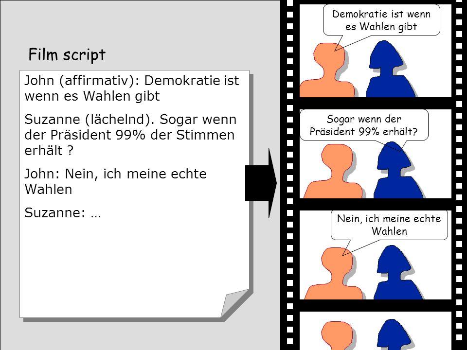 Film script John (affirmativ): Demokratie ist wenn es Wahlen gibt