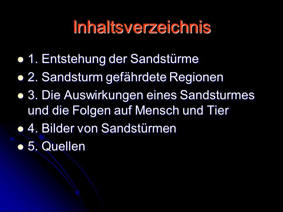 Inhaltsverzeichnis 1. Entstehung der Sandstürme