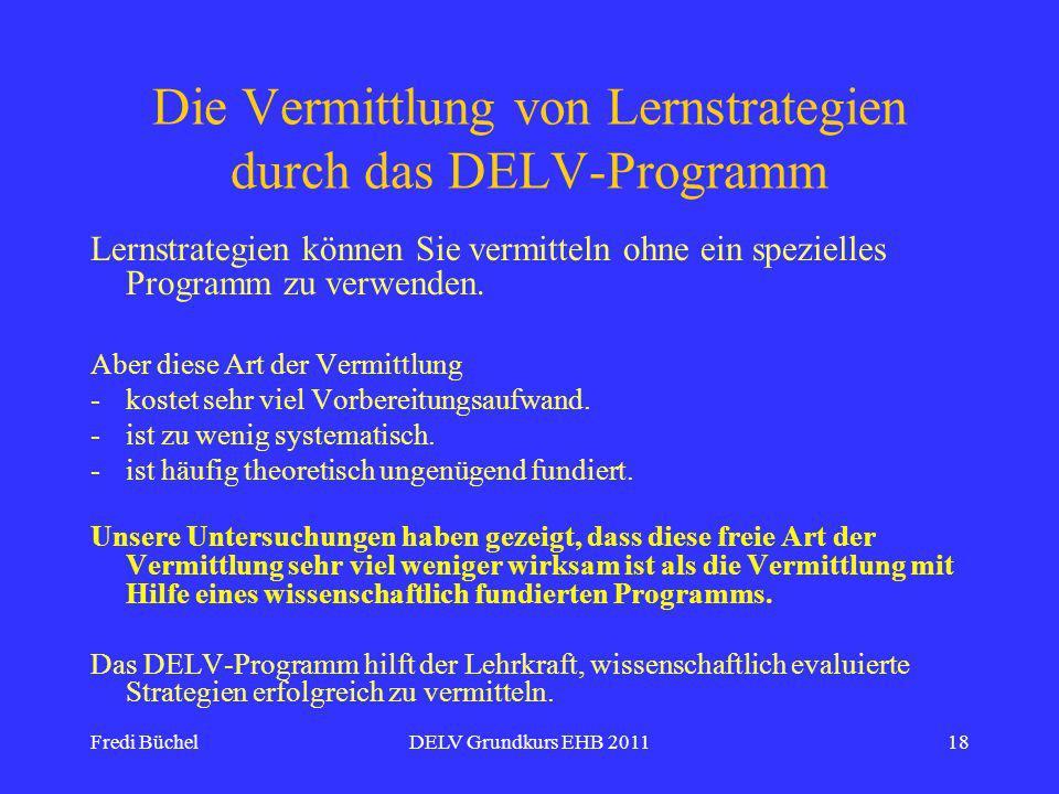 Die Vermittlung von Lernstrategien durch das DELV-Programm