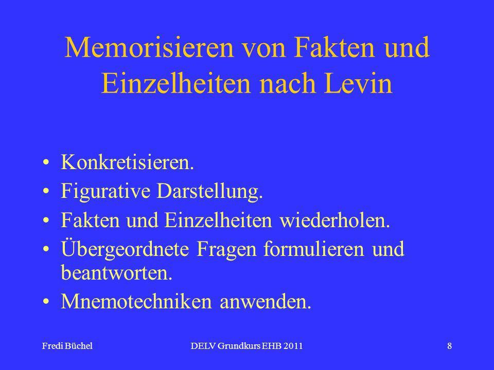 Memorisieren von Fakten und Einzelheiten nach Levin