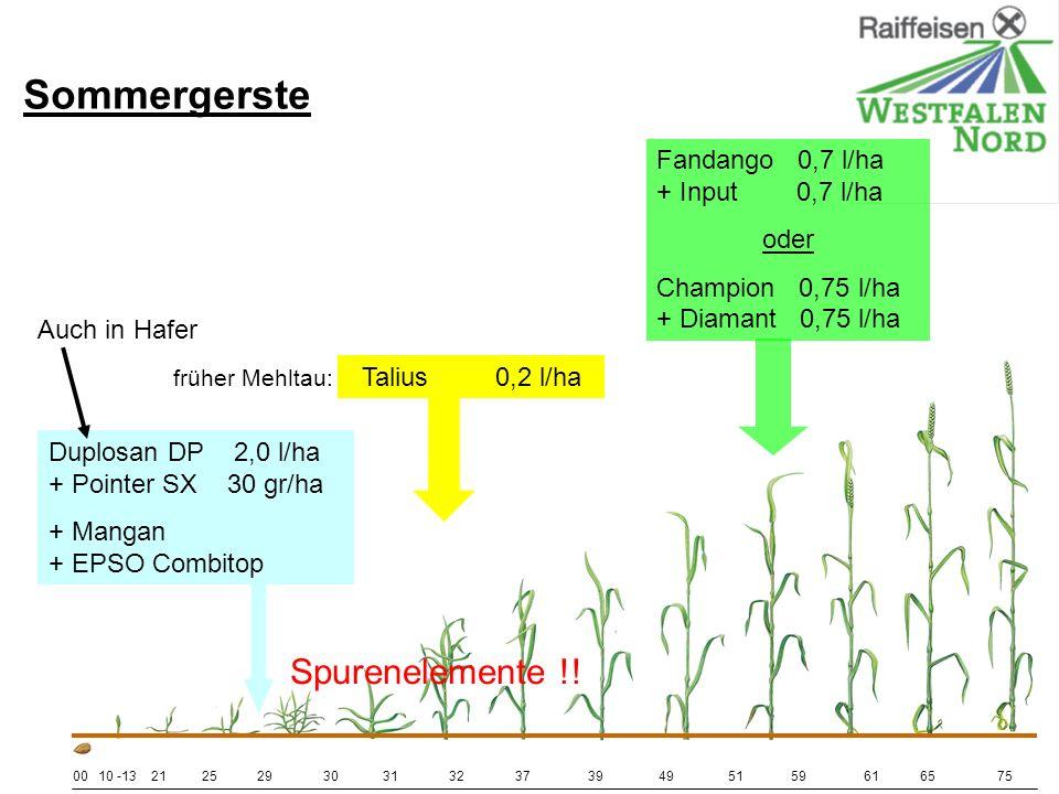 Sommergerste Spurenelemente !! Fandango 0,7 l/ha + Input 0,7 l/ha oder