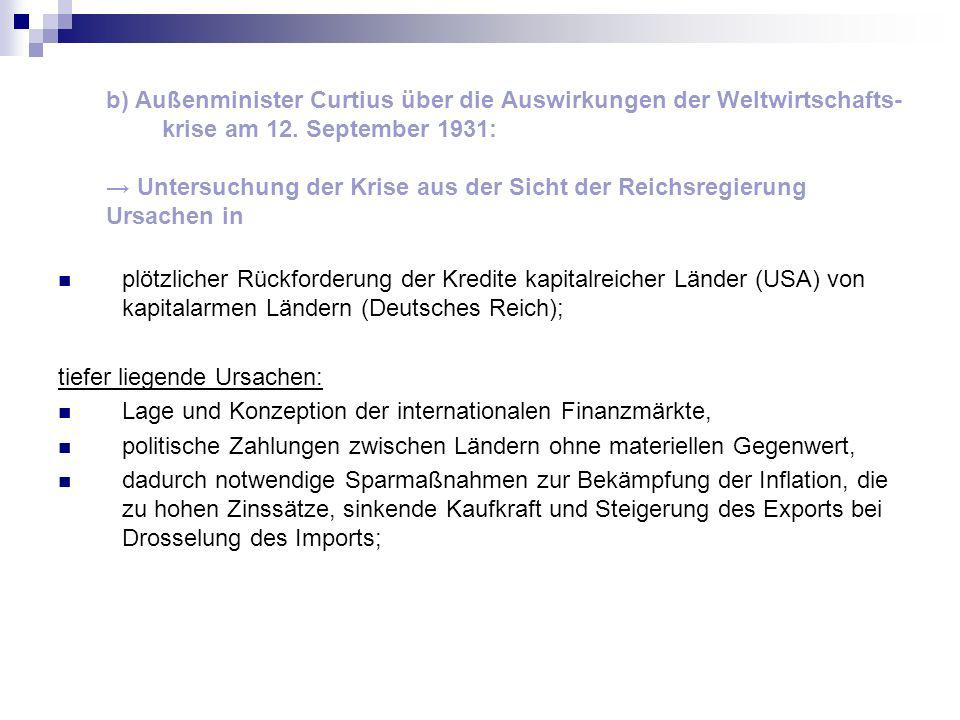 b) Außenminister Curtius über die Auswirkungen der Weltwirtschafts-krise am 12. September 1931: