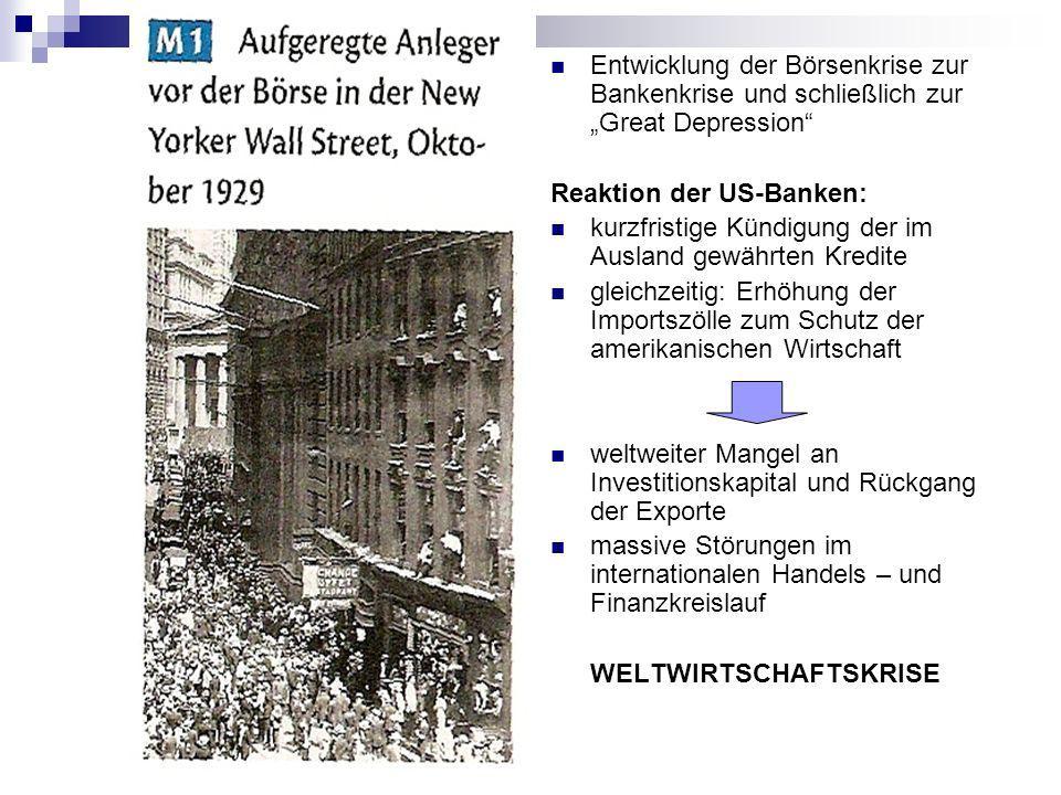 """Entwicklung der Börsenkrise zur Bankenkrise und schließlich zur """"Great Depression"""
