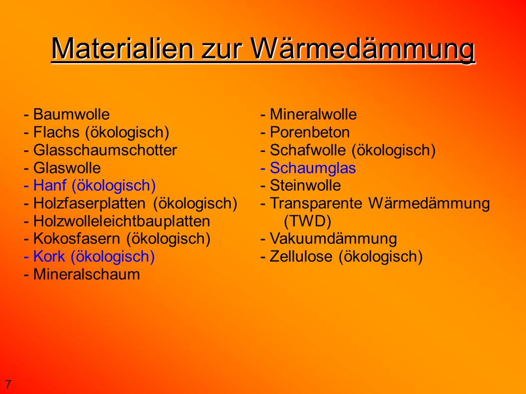 Materialien zur Wärmedämmung