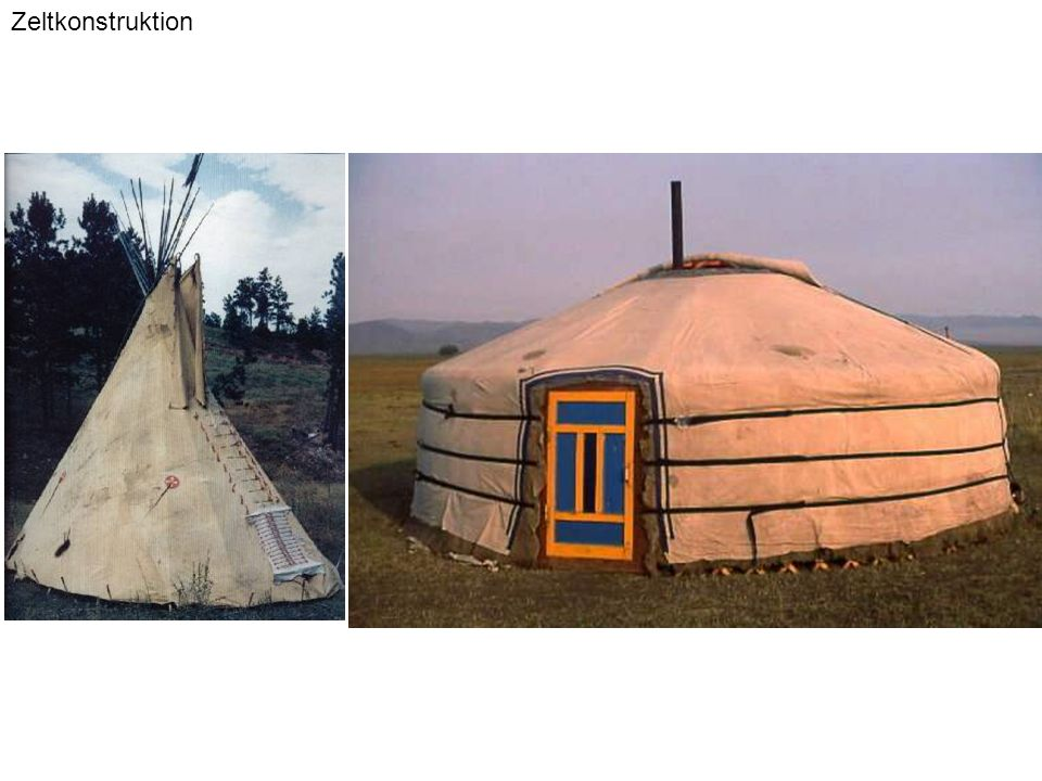 Zeltkonstruktion Zeltkonstruktionen beruhen auf rein zugbelasteten Elementen