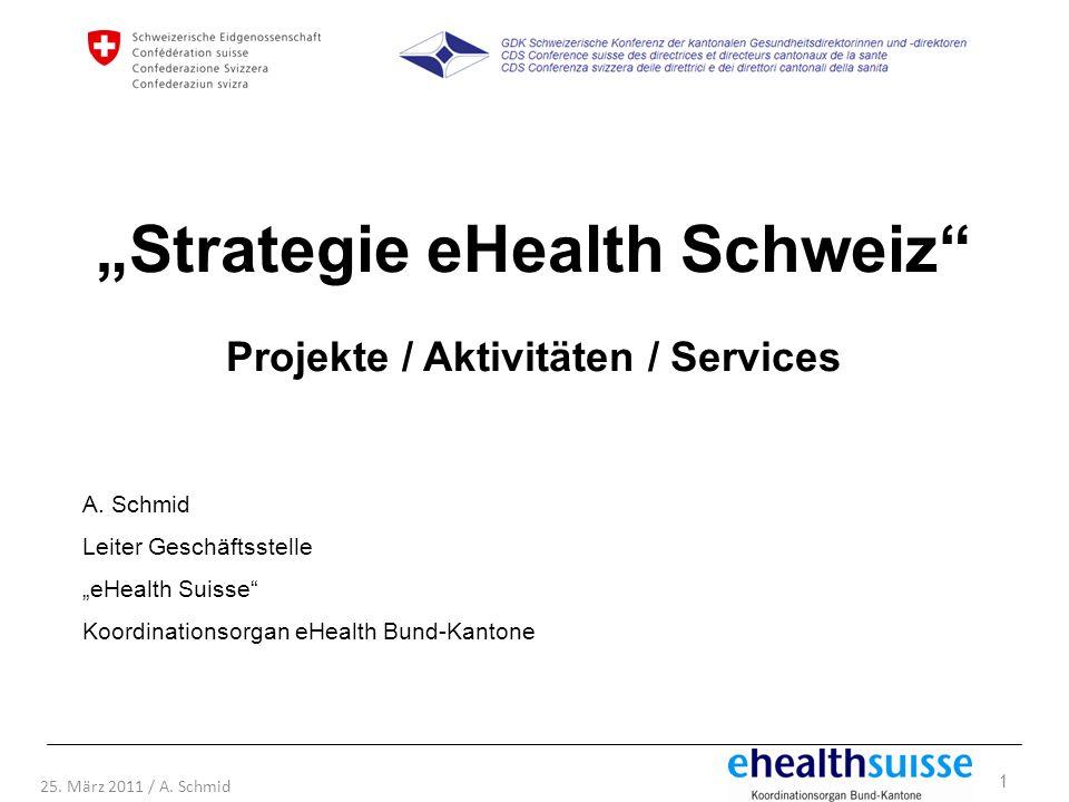 """""""Strategie eHealth Schweiz Projekte / Aktivitäten / Services"""