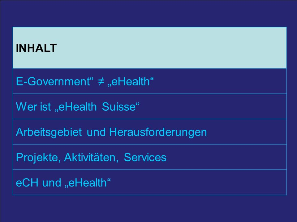 """E-Government ≠ """"eHealth Wer ist """"eHealth Suisse"""