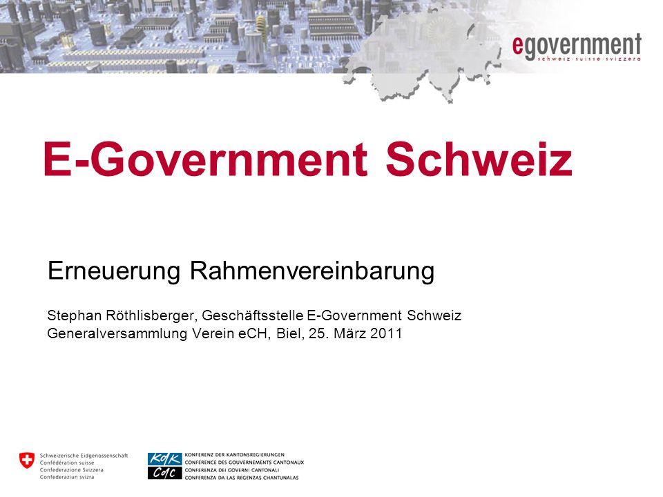 E-Government Schweiz Erneuerung Rahmenvereinbarung