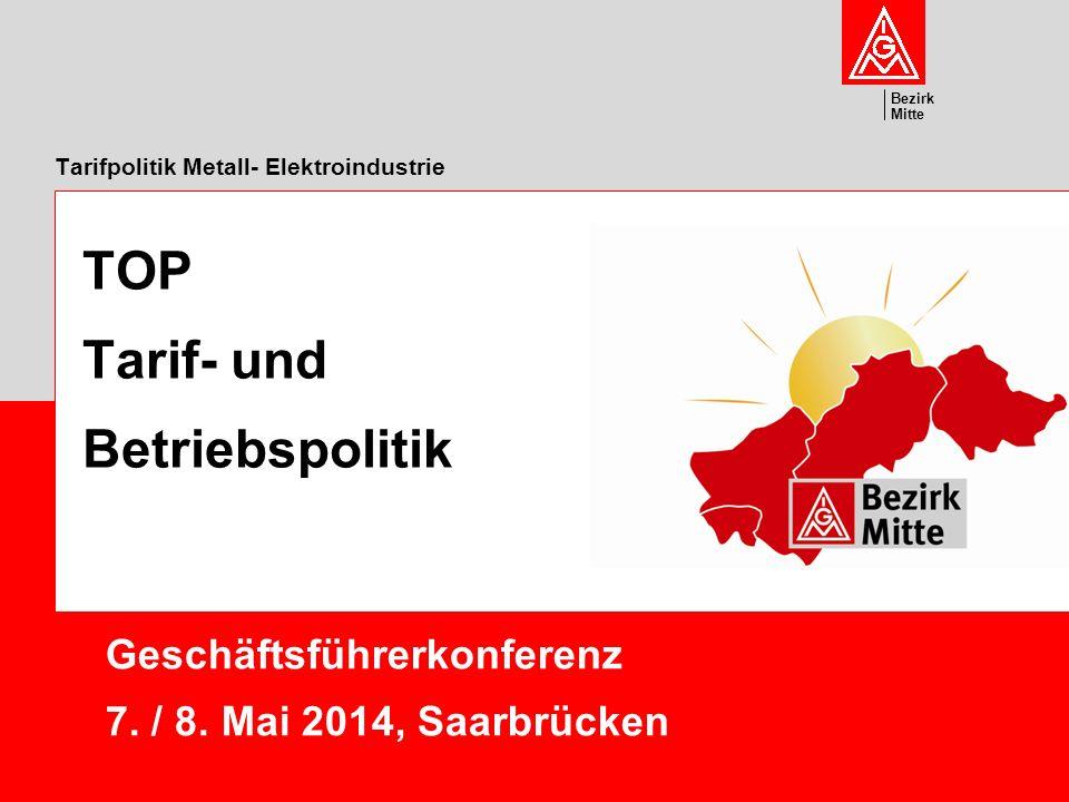Tarifpolitik Metall- Elektroindustrie