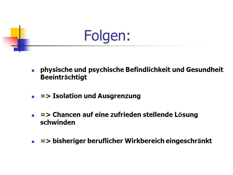 Folgen: physische und psychische Befindlichkeit und Gesundheit Beeinträchtigt. => Isolation und Ausgrenzung.