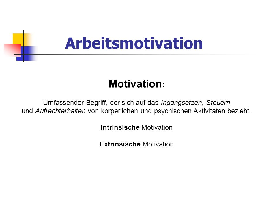 Arbeitsmotivation Motivation: