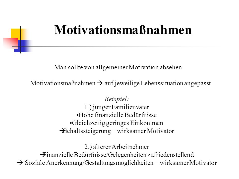Motivationsmaßnahmen