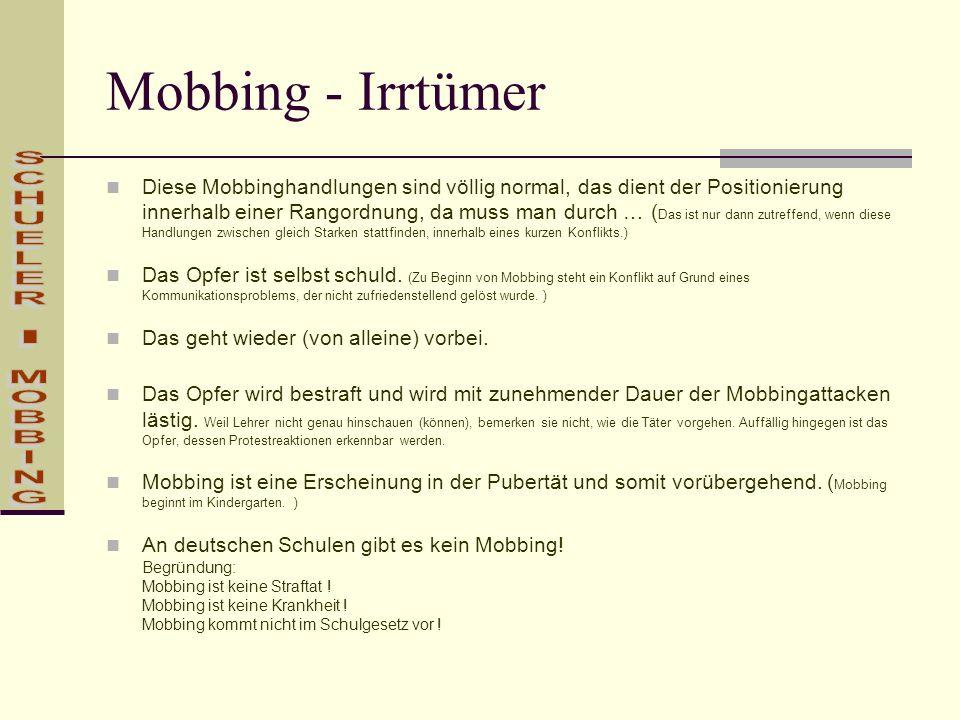 Mobbing - Irrtümer SCHUELER - MOBBING