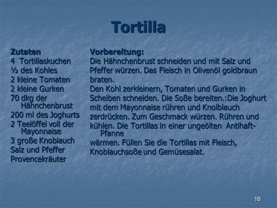 Tortilla Zutaten 4 Tortillaskuchen ½ des Kohles 2 kleine Tomaten