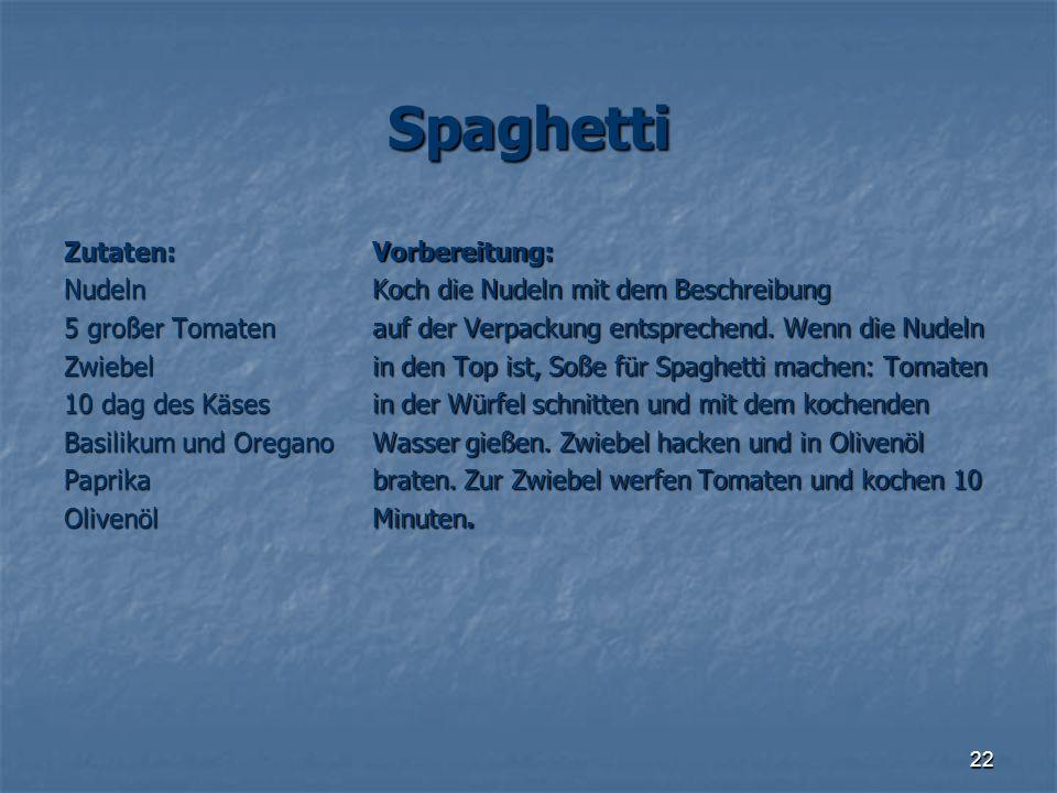 Spaghetti Zutaten: Nudeln 5 großer Tomaten Zwiebel 10 dag des Käses