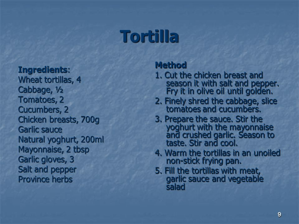 Tortilla Method Ingredients: