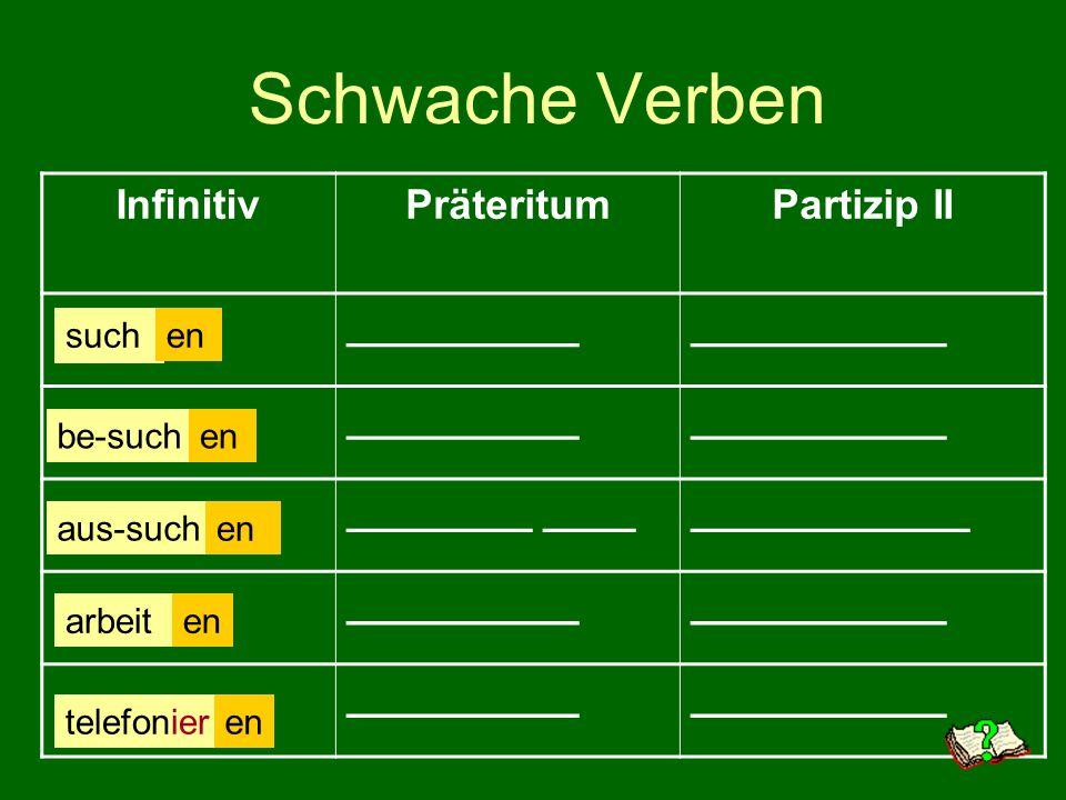 Schwache Verben Infinitiv Präteritum Partizip II __________